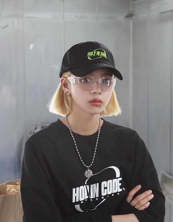 No.0039 HIC made ellipse lime logo BALL CAP