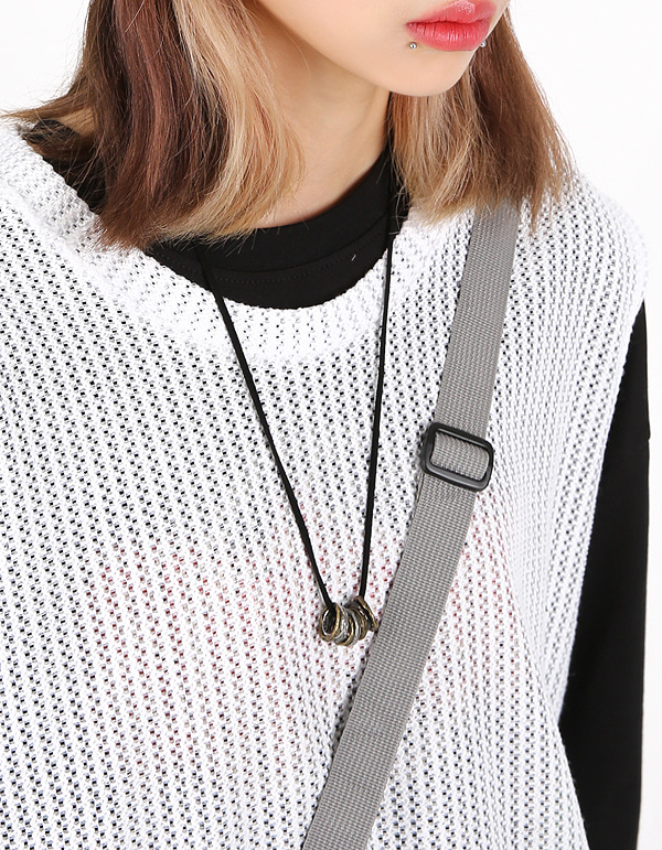 No.8104 ring bundle leather necklace